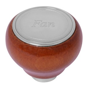 Wood Control Knobs with Stainless Steel Script Plate Set