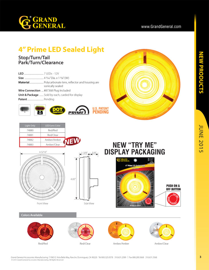 Small Rectangle Amber 1-LED with Clear Rim and Pigtail GG Grand General 76415 Marker Light