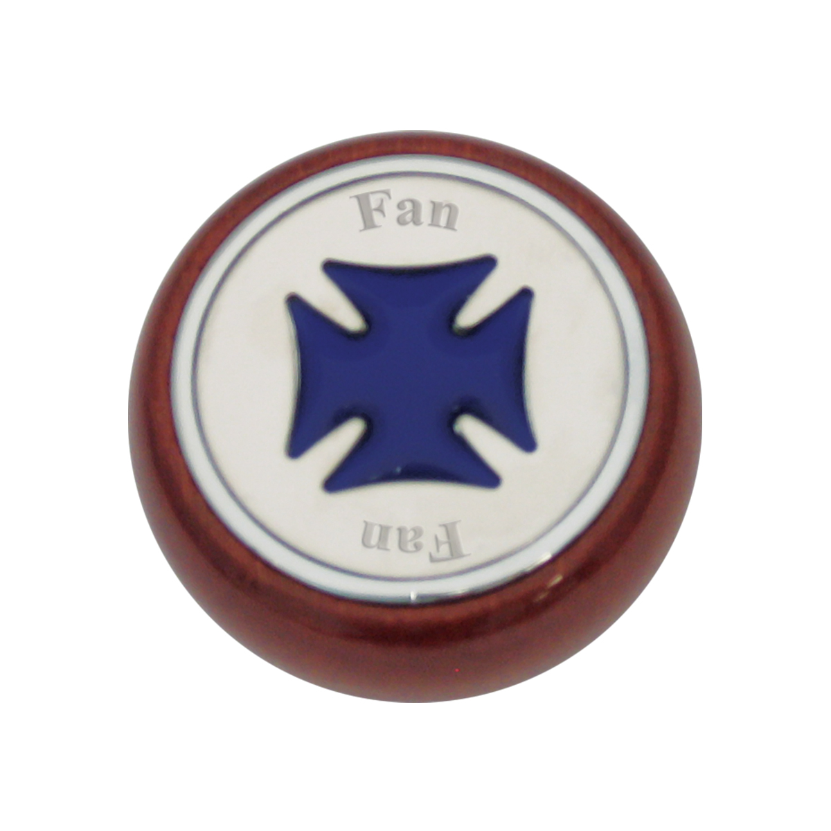 95421 Blue Iron Cross Dashboard Control Knob w/ Fan Script