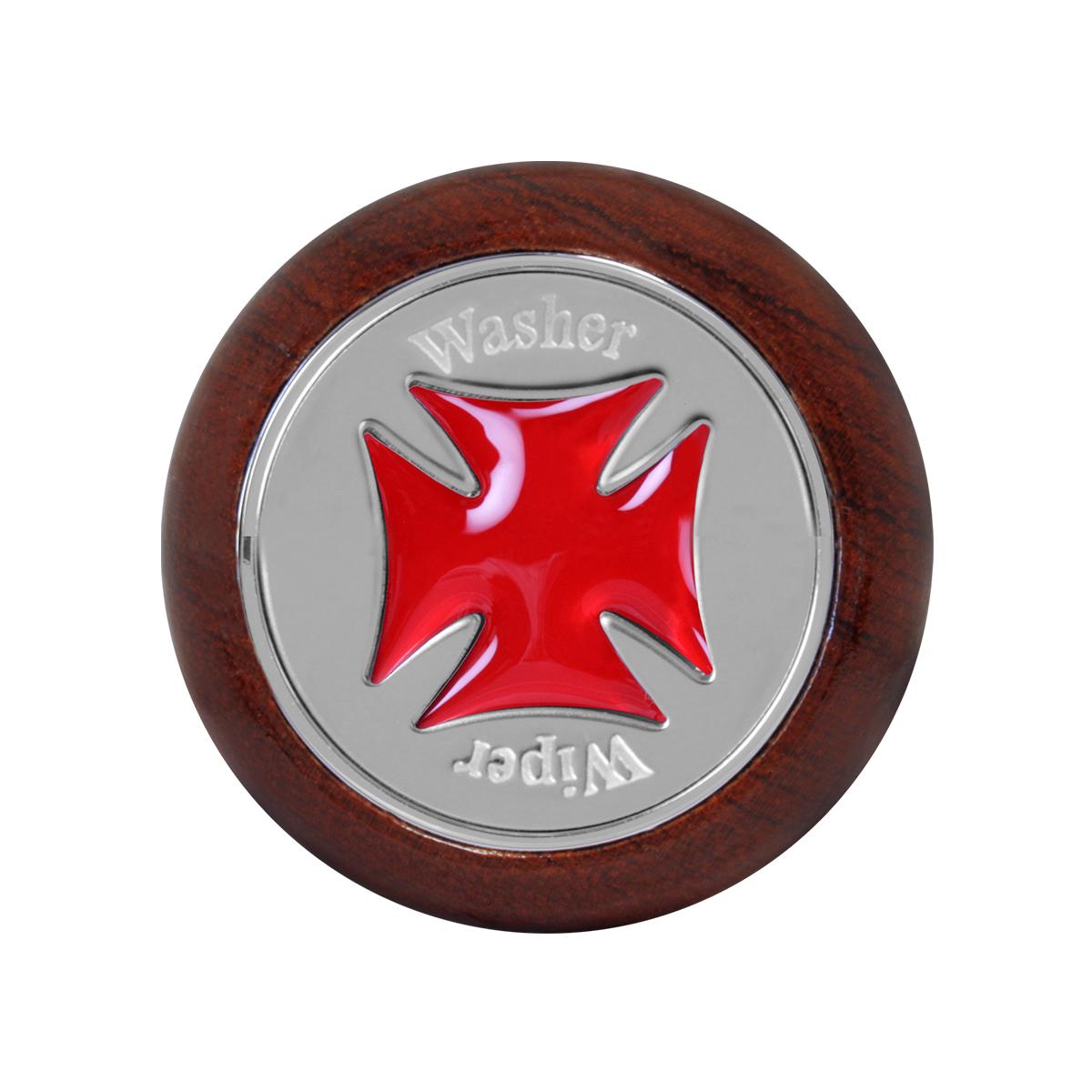 95445 Red Iron Cross Dashboard Control Knob w/ Wiper/Washer Script