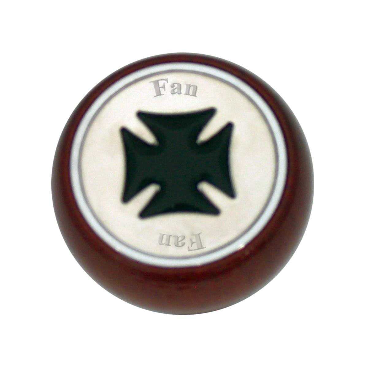 95460 Black Iron Cross Dashboard Control Knob w/ Fan Script