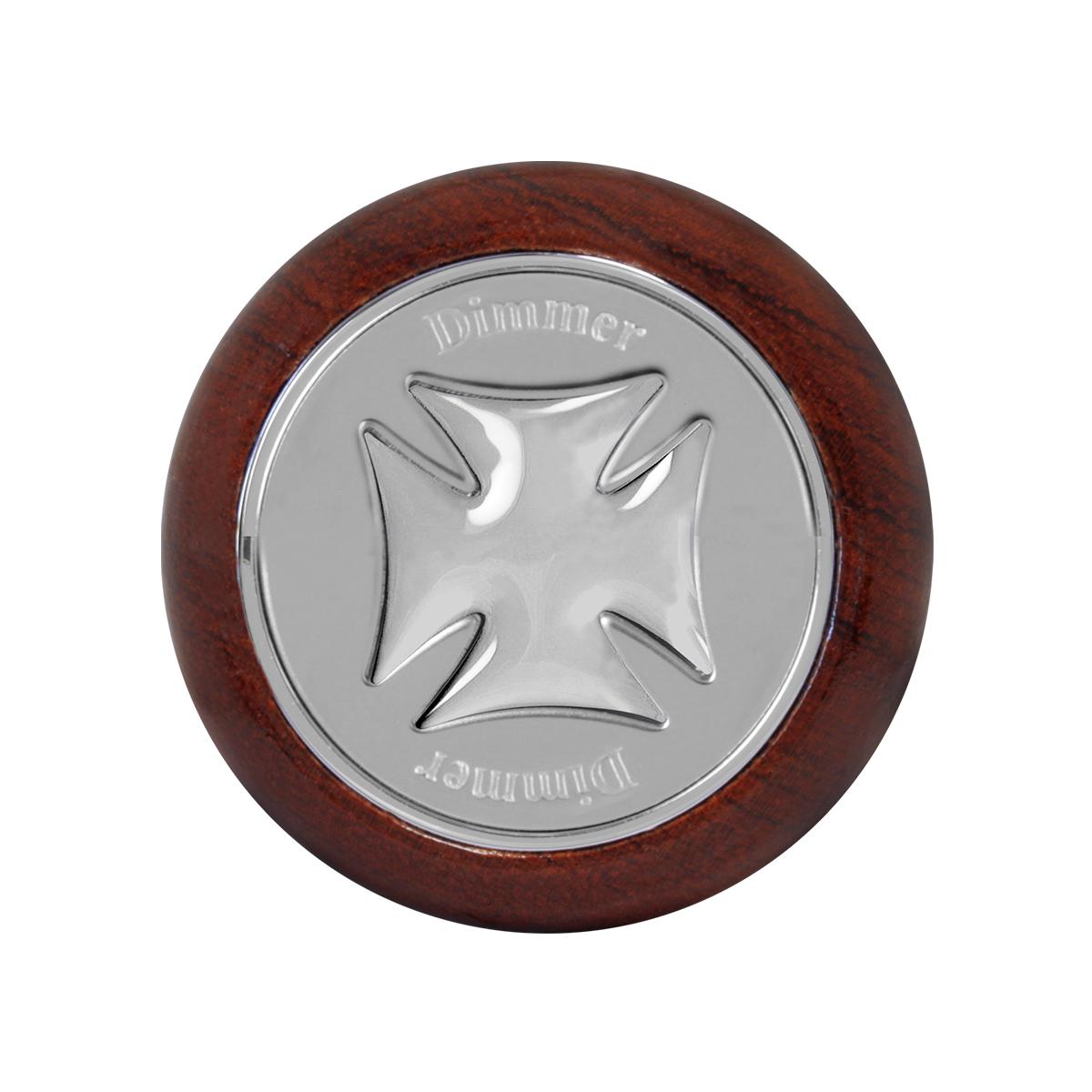 95476 Silver Iron Cross Dashboard Control Knob w/ Dimmer Script