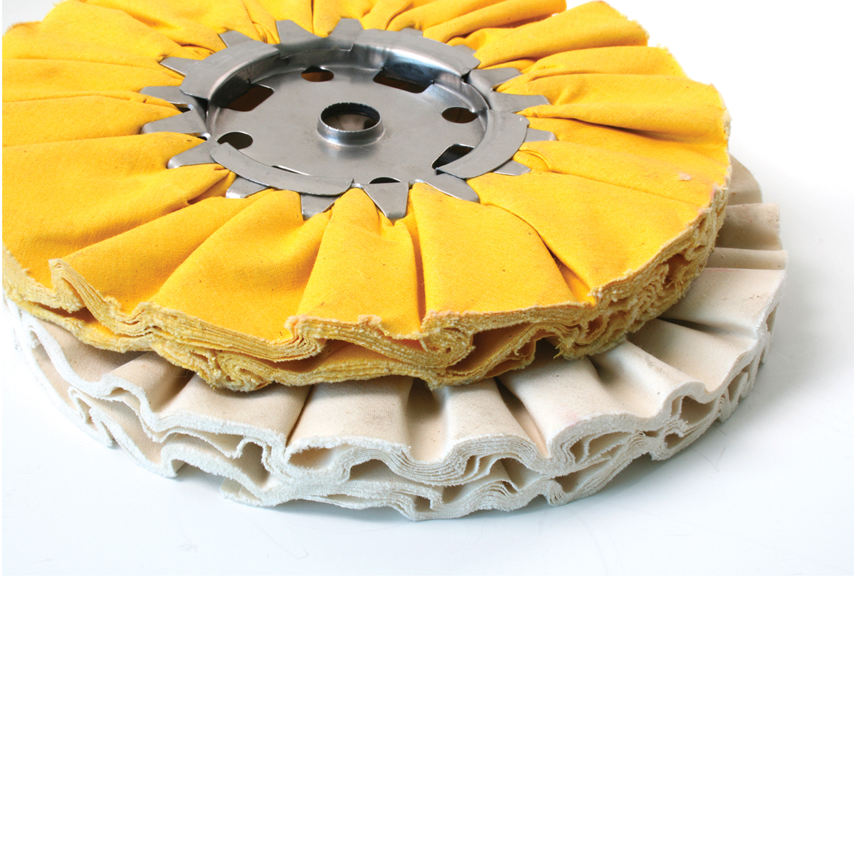 Yellow and White Treated Airway Buffing Wheels