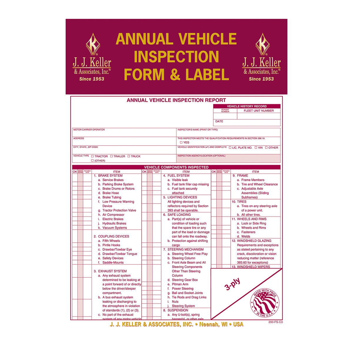99909 Annual Vehicle Inspection Report with Labels