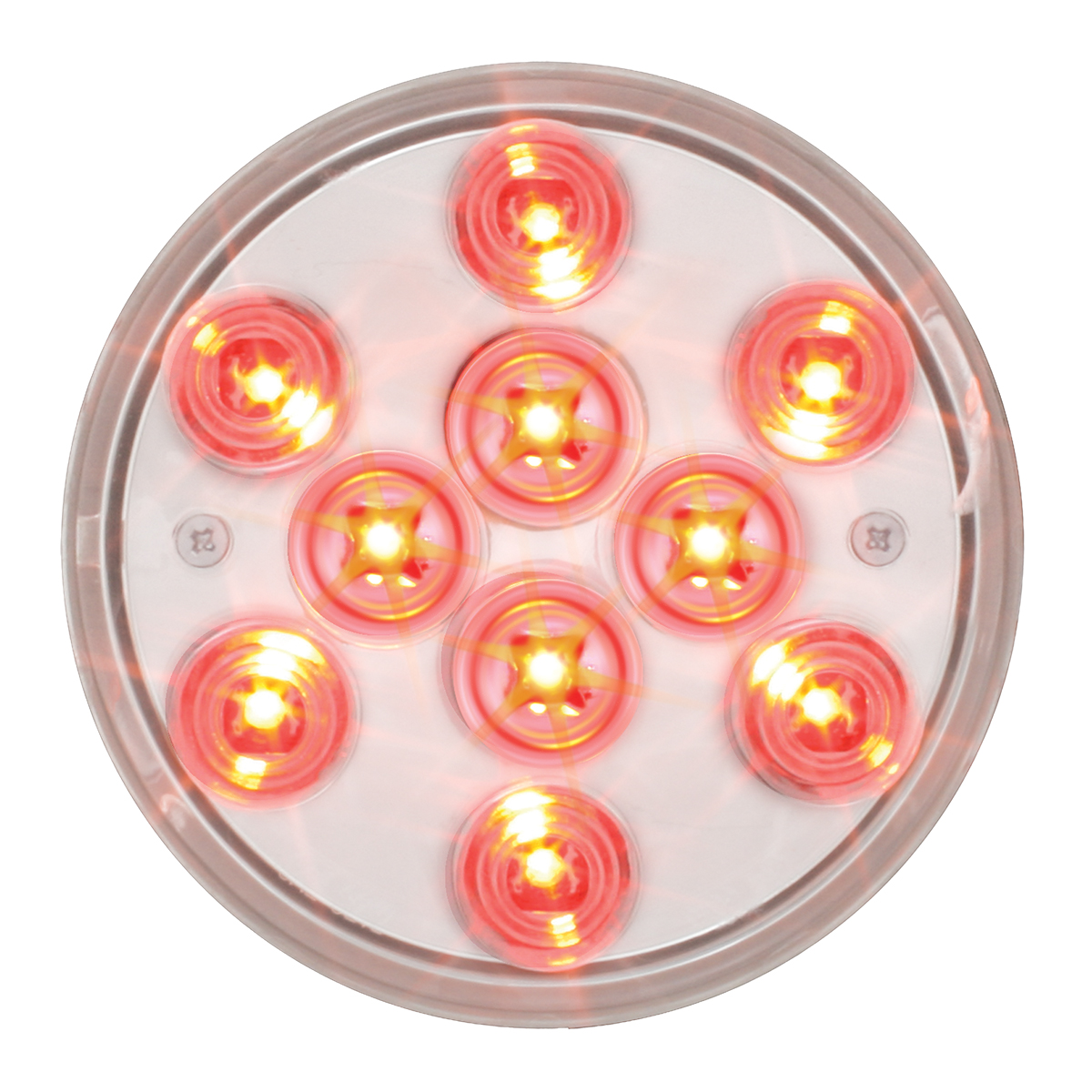 """76843 4"""" Mega 10 Plus LED Light in Red/Clear"""