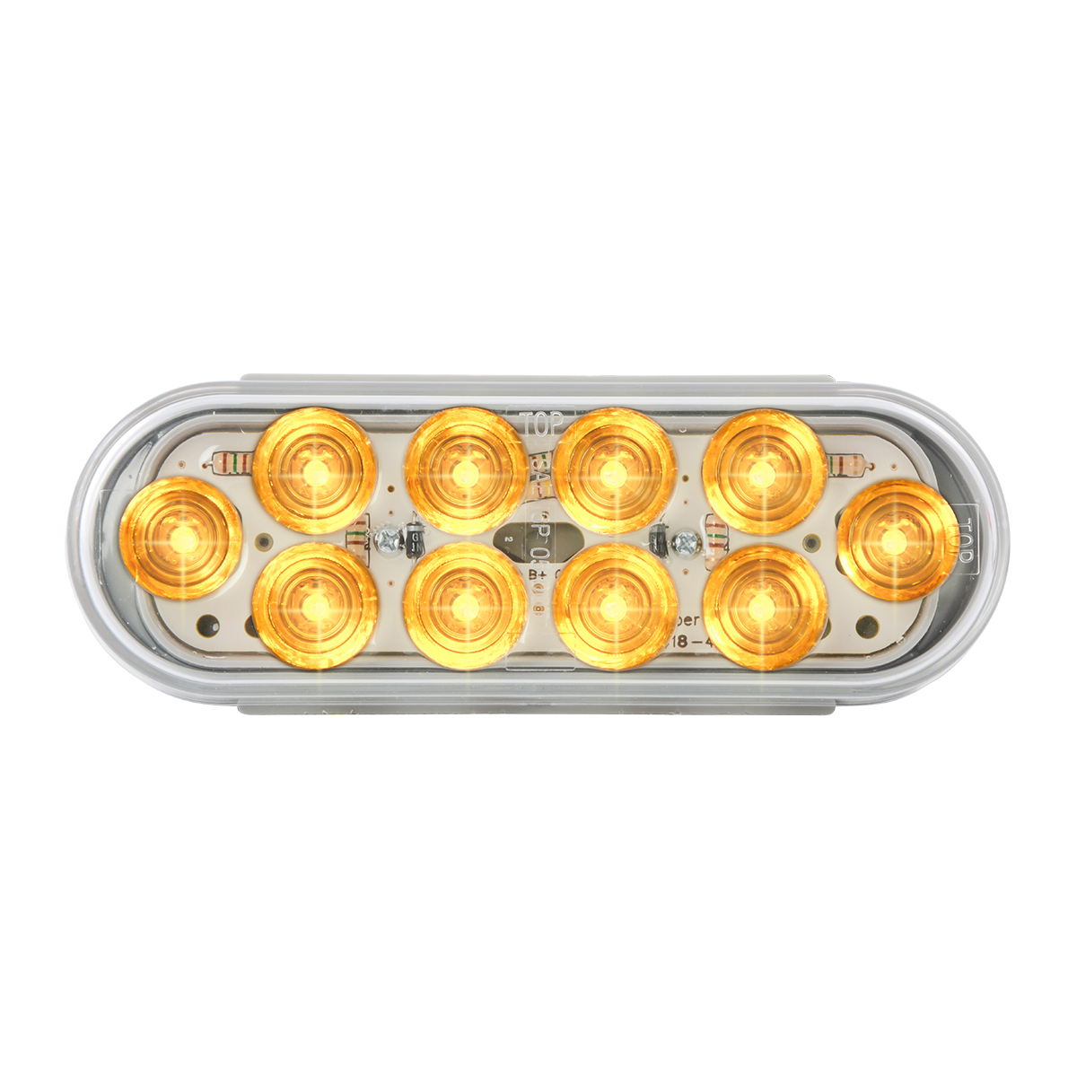 77441 Oval Mega 10 LED Light in Amber/Clear
