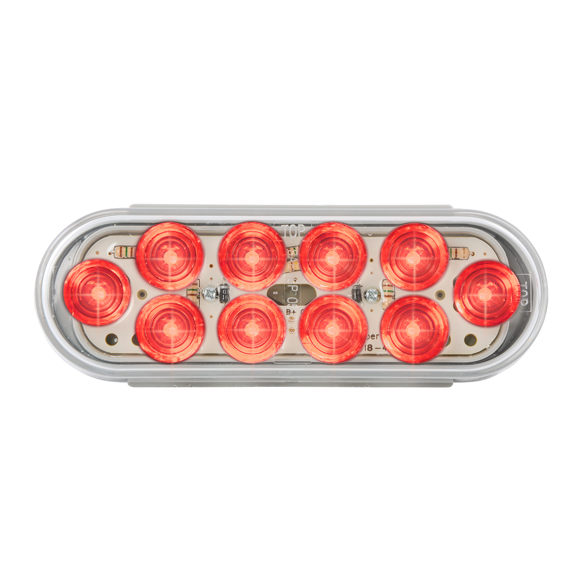 77443 Oval Mega 10 LED Light in Red/Clear