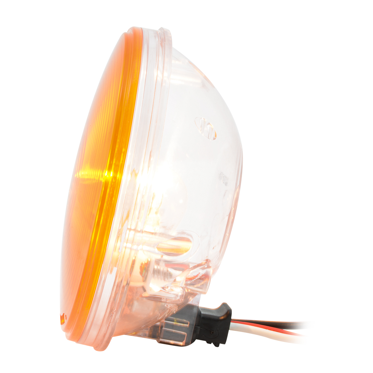 "#79245 4"" Amber Park/Turn/Clearance Light with Clear Back Housing - Side View"