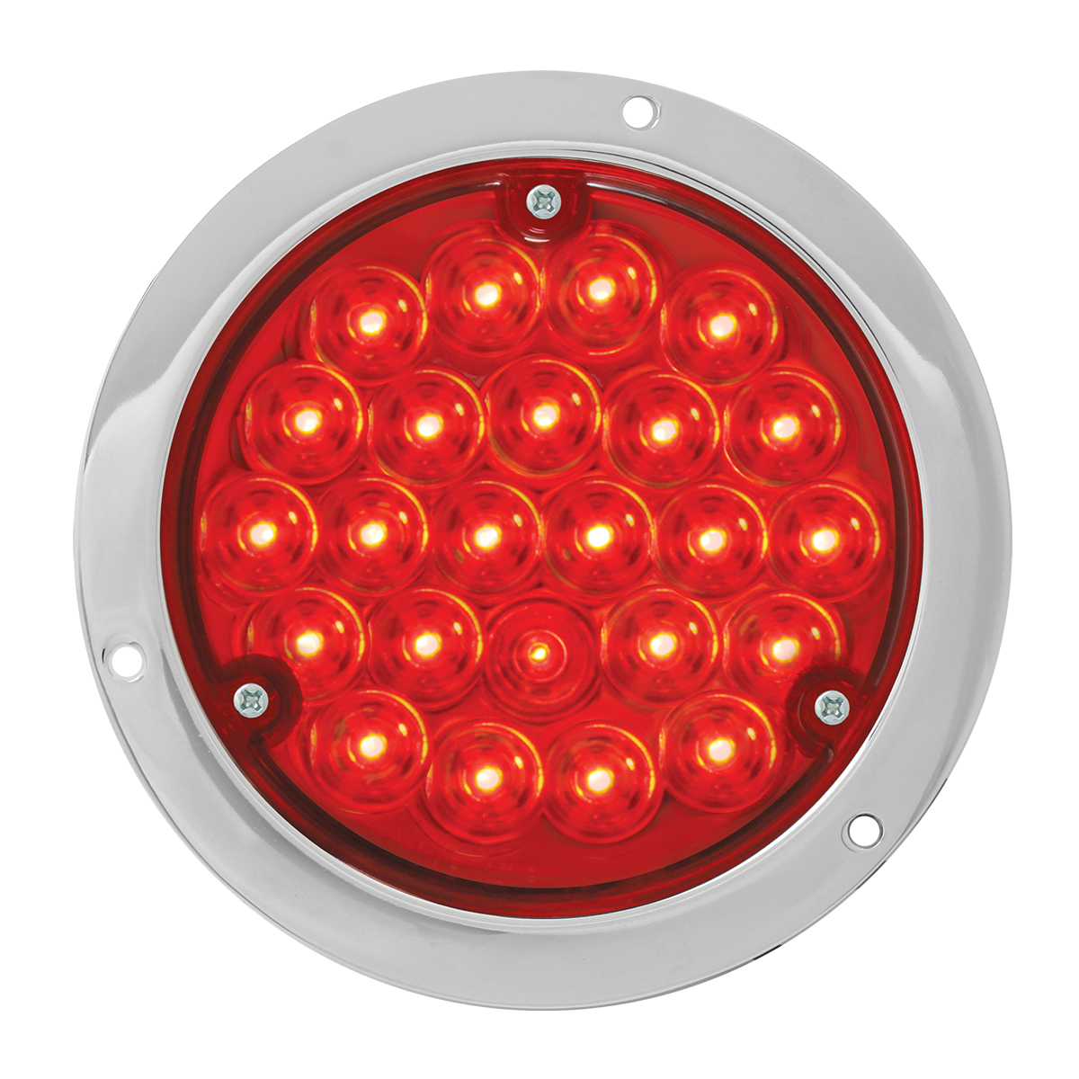 "87582 4"" Pearl LED Light in Red/Red w/ Chrome Housing"