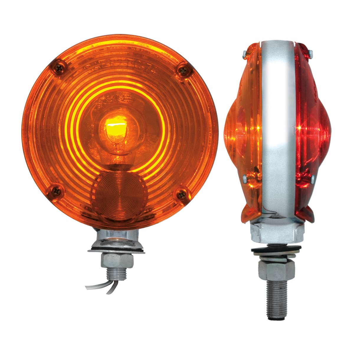 "#80305 4"" Double Face Pedestal Amber/Red Light - Profile View"