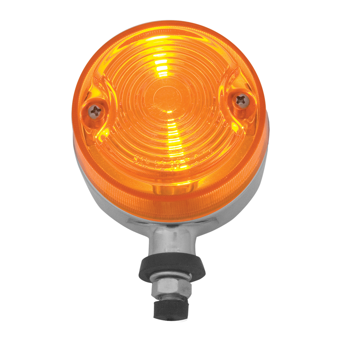 #83240 Single Face Auxiliary Projected Pedestal Marker Amber Light w/S.S. Rim - Front View