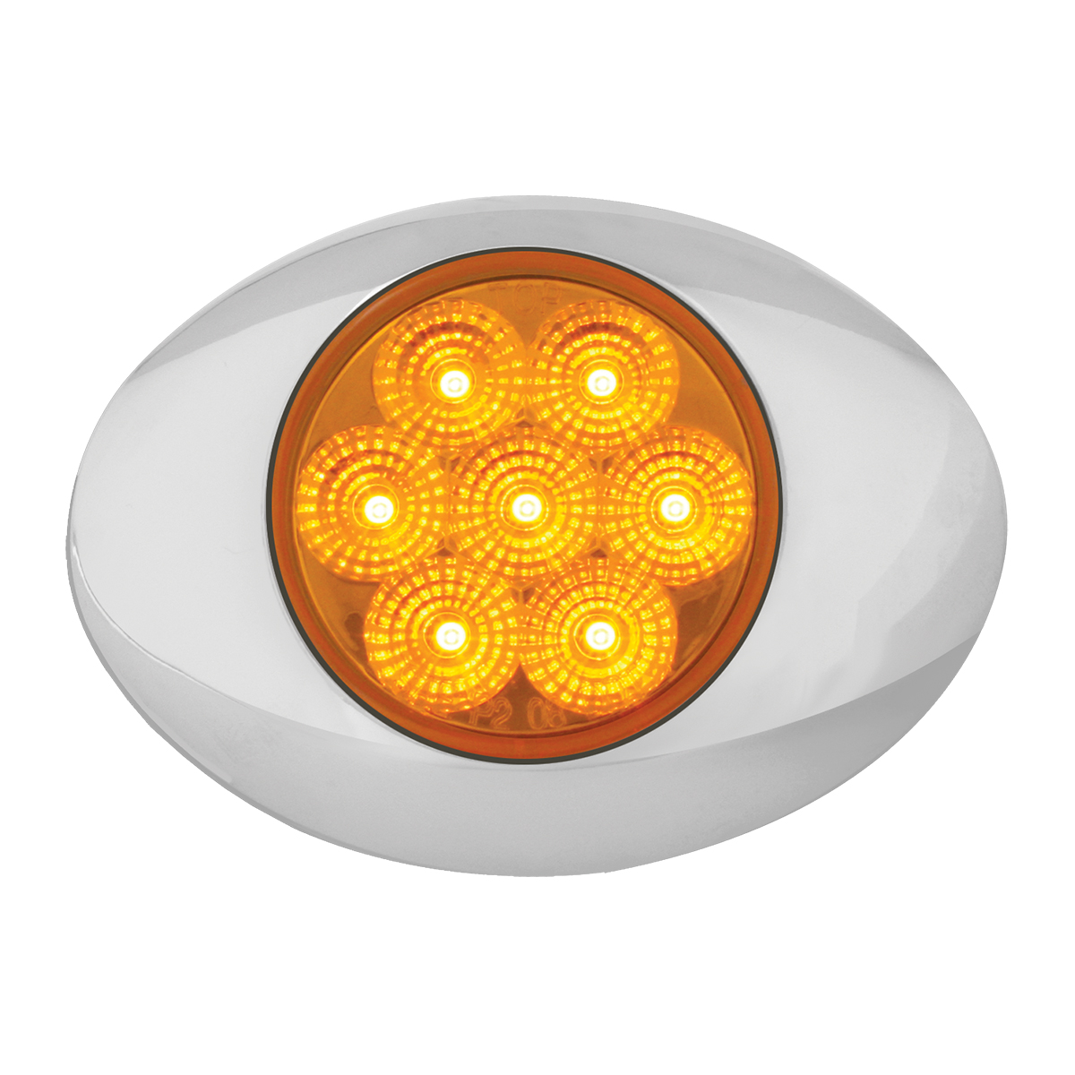 Small Spyder LED Light in Amber/Amber with Chrome Bezel