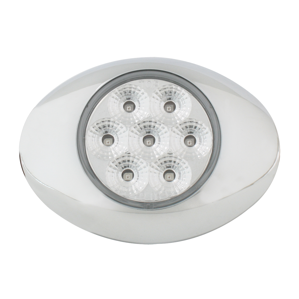 Small Spyder LED Light in Clear Lens with Chrome Bezel