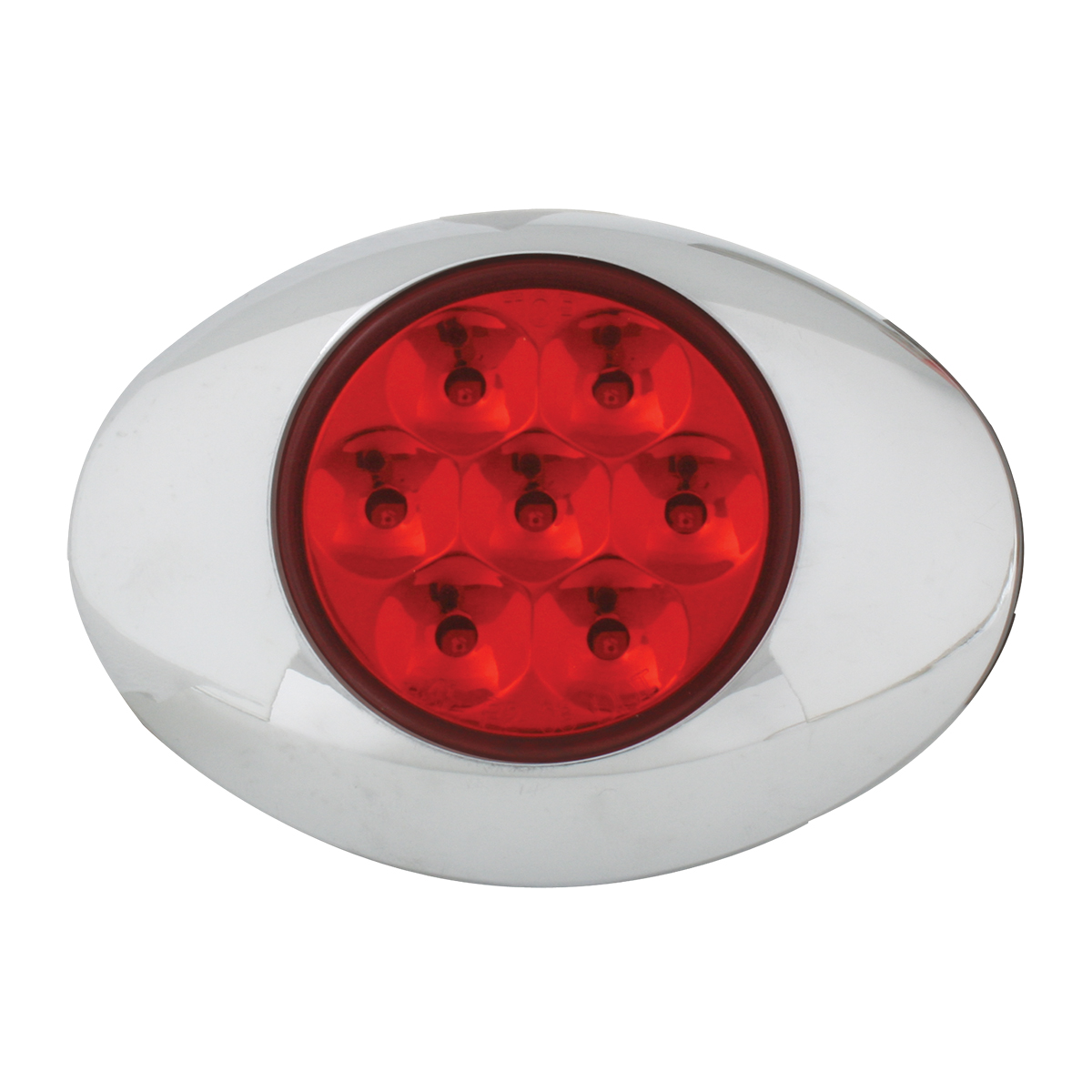 Small Pearl LED Light in Red/Red with Chrome Bezel