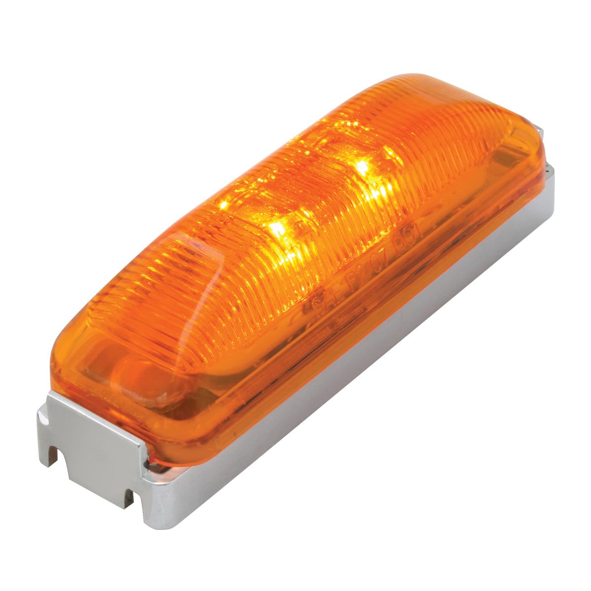 76390 Medium Rectangular Fleet LED Marker Light w/ Chrome Bracket