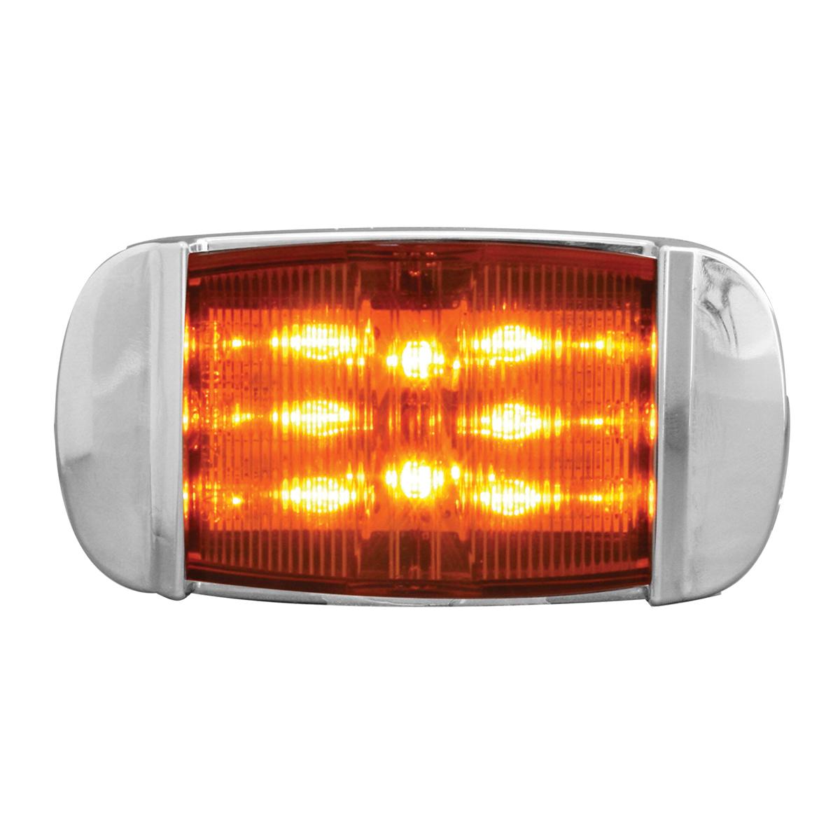 76254 Rectangular Camel Back Wide Angle LED Marker Light w/ Chrome Bezel