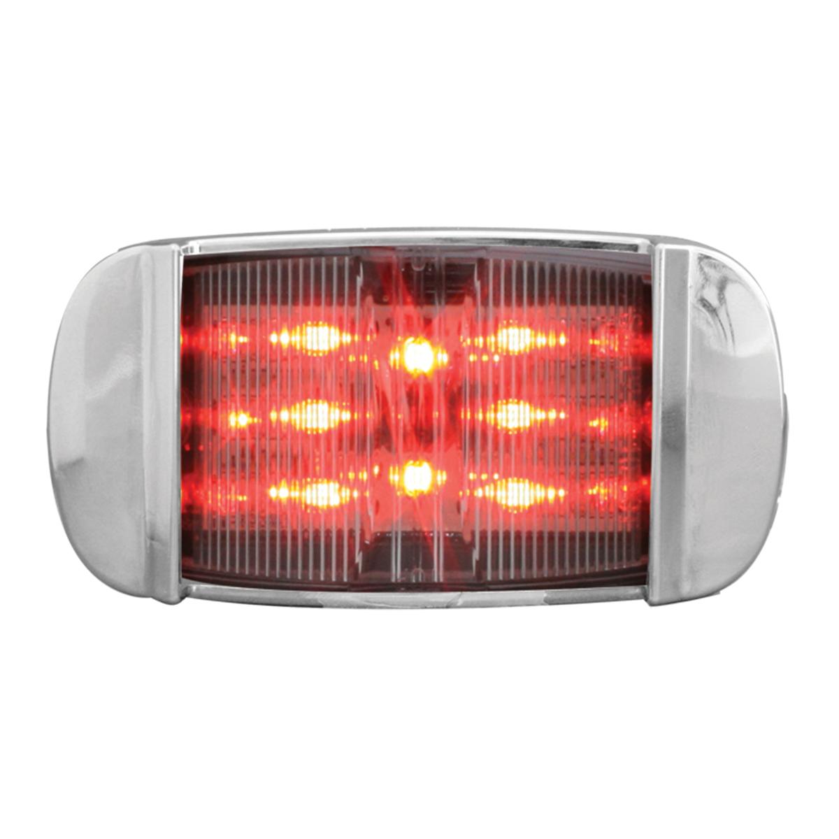 76257 Rectangular Camel Back Wide Angle LED Marker Light w/ Chrome Bezel