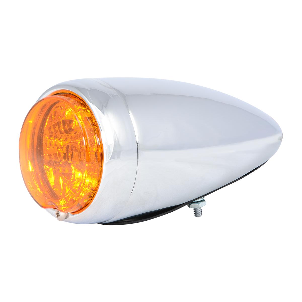 77210 Chrome Steel Bullet Spyder LED Turn/Marker Light in Amber/Amber