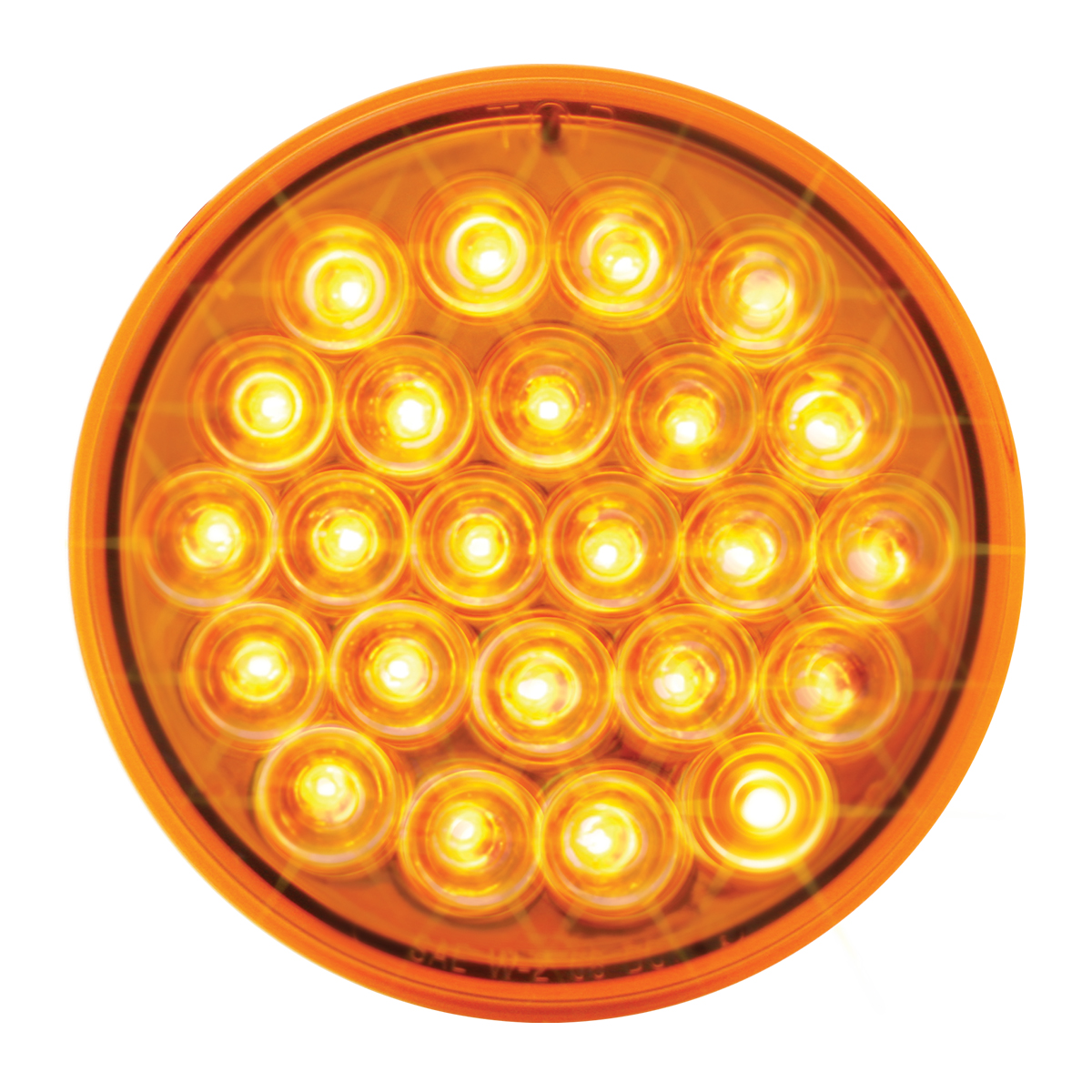 """4"""" Round Synchronous/Alternating Pearl LED Strobe Light in Amber/Amber"""