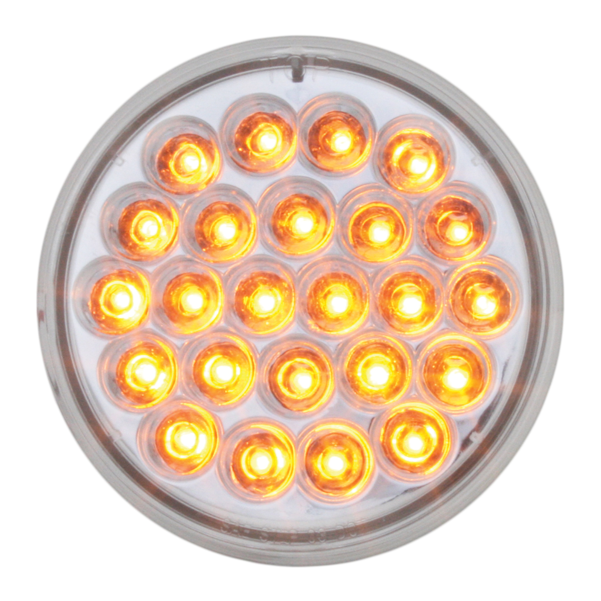 """#78271 4"""" Round Pearl LED Flat Amber/Clear Light"""