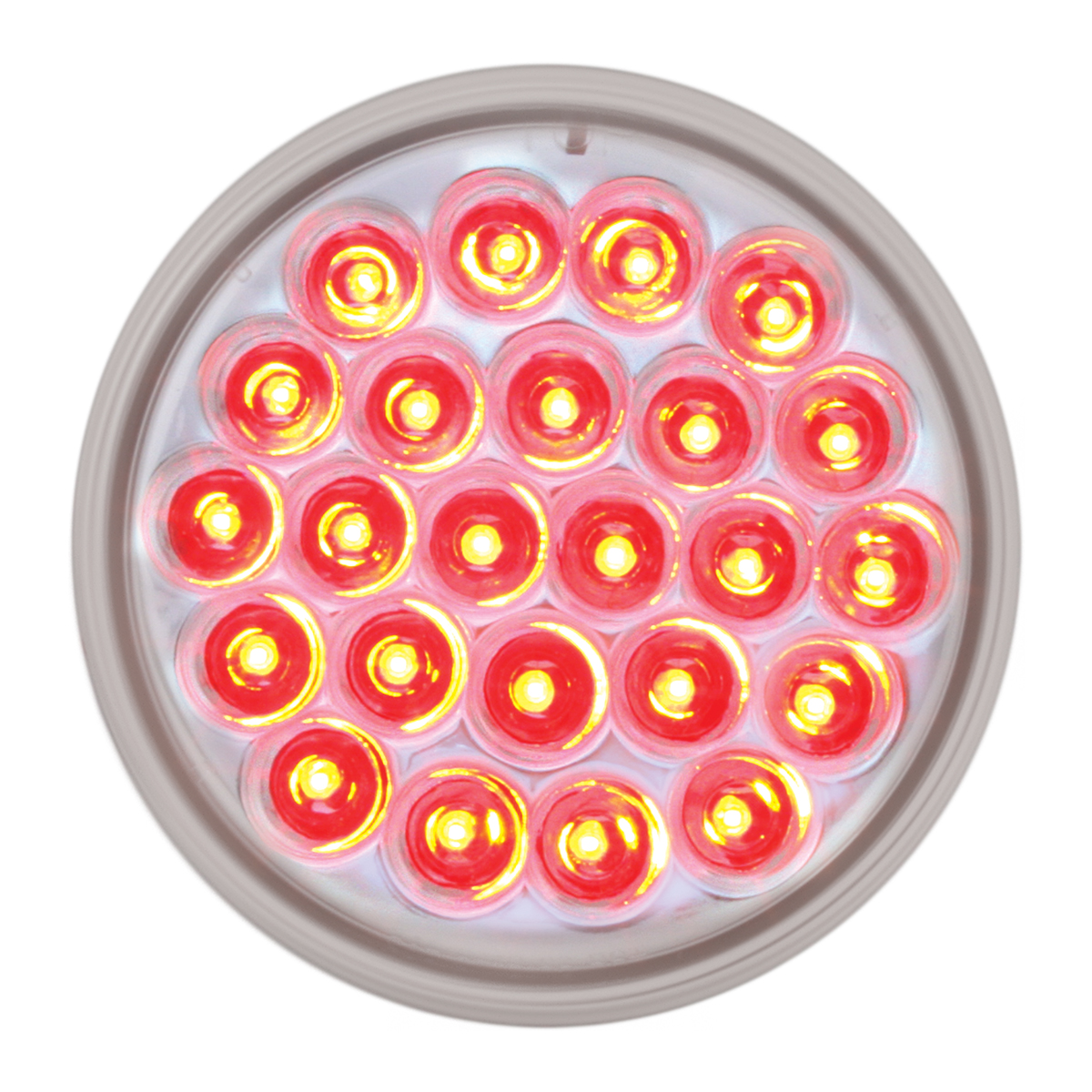 """4"""" Round Synchronous/Alternating Pearl LED Strobe Light in Red/Clear"""