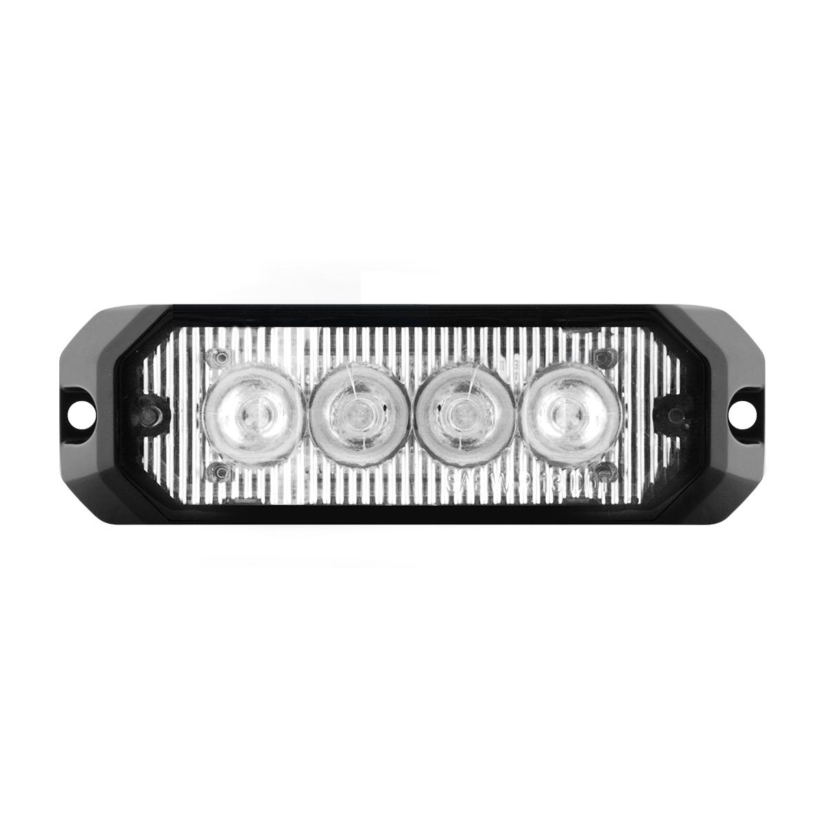 """4"""" Medium Rectangular High Power LED Strobe Light in Clear Lens"""