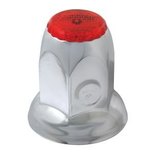 Classic Reflector Chrome Steel Push-On Lug Nut Cover w/ Flange