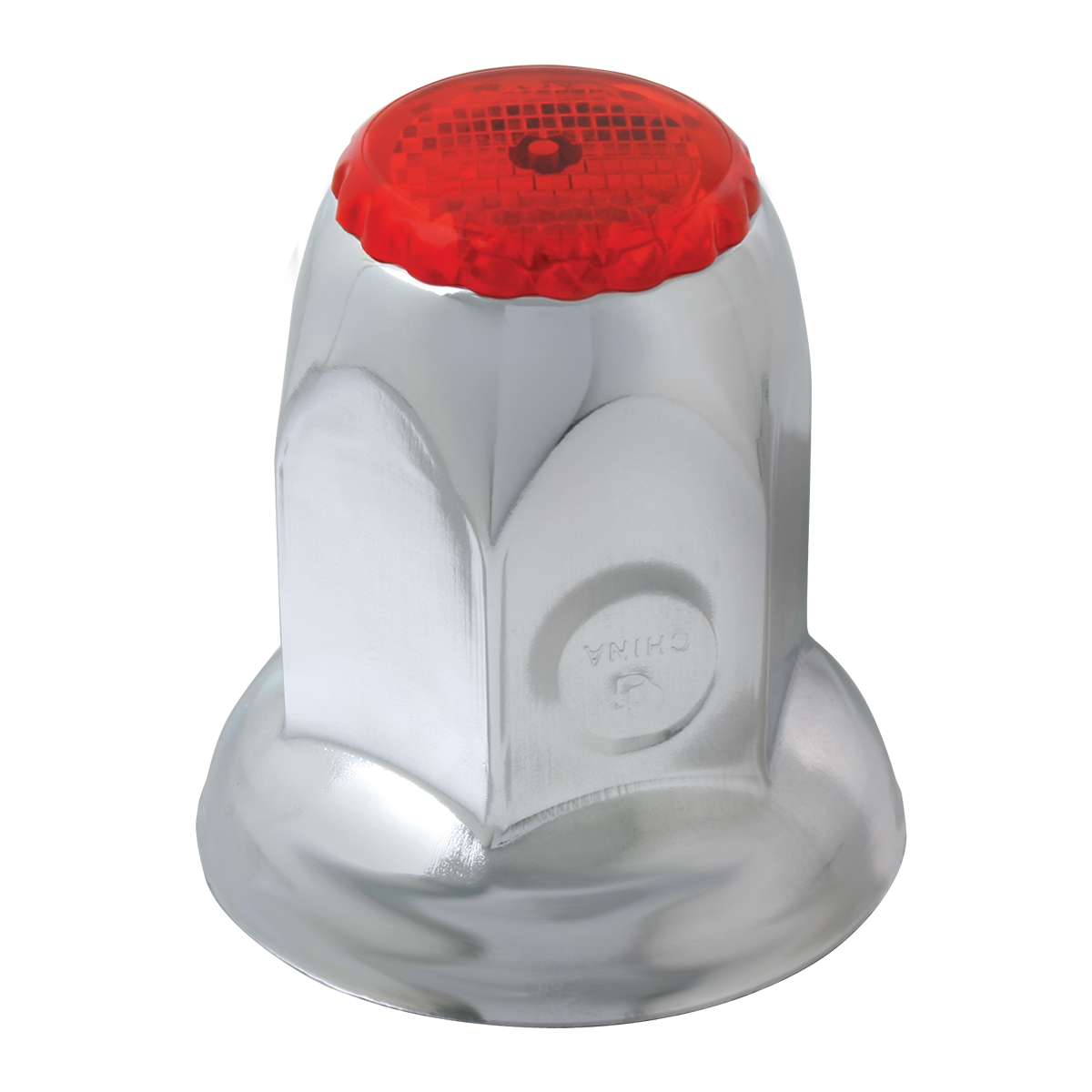 10494 Chrome Steel Red Reflector Push-On Lug Nut Cover w/ Flange