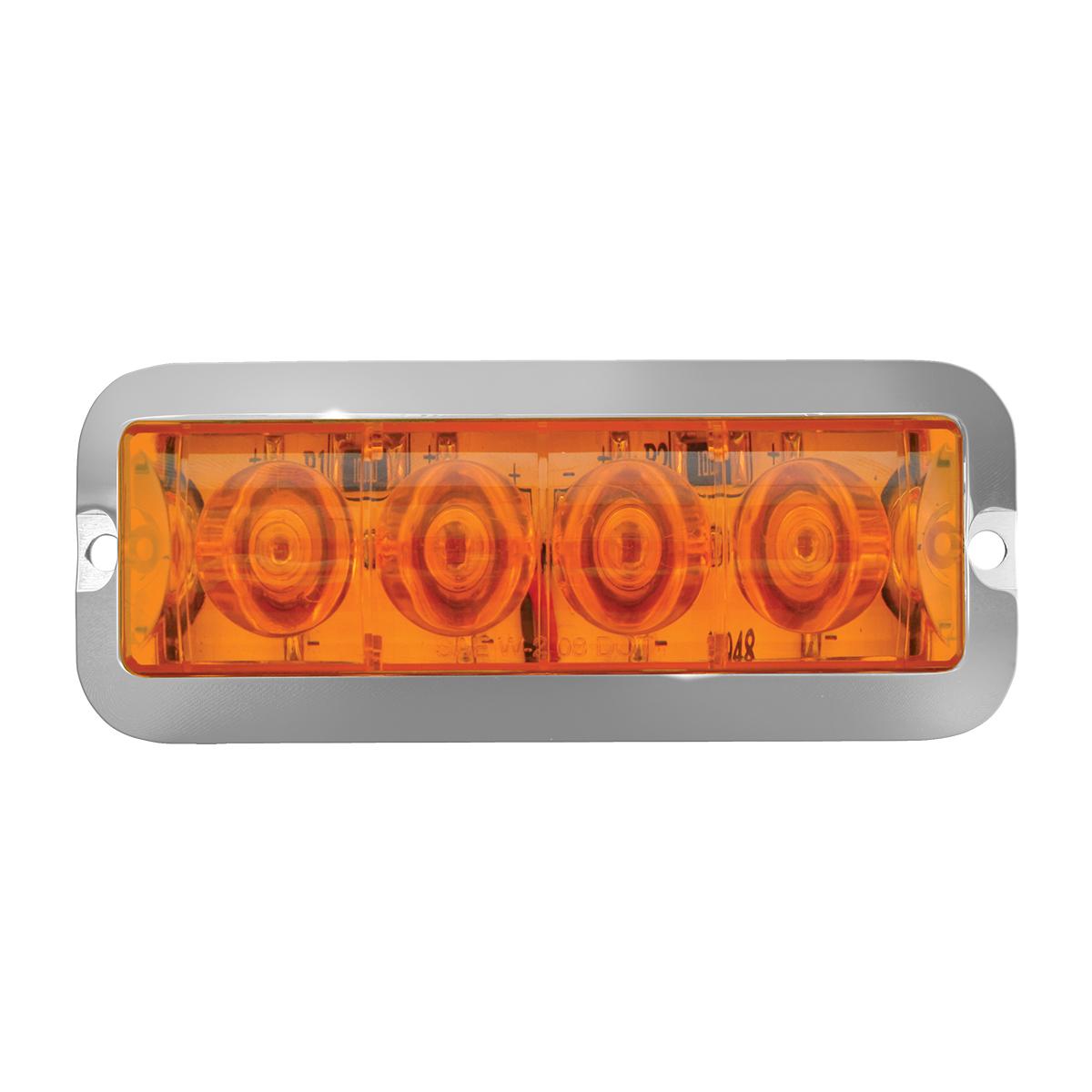76530 Amber/Amber Medium Rectangular 4 LED Strobe Light