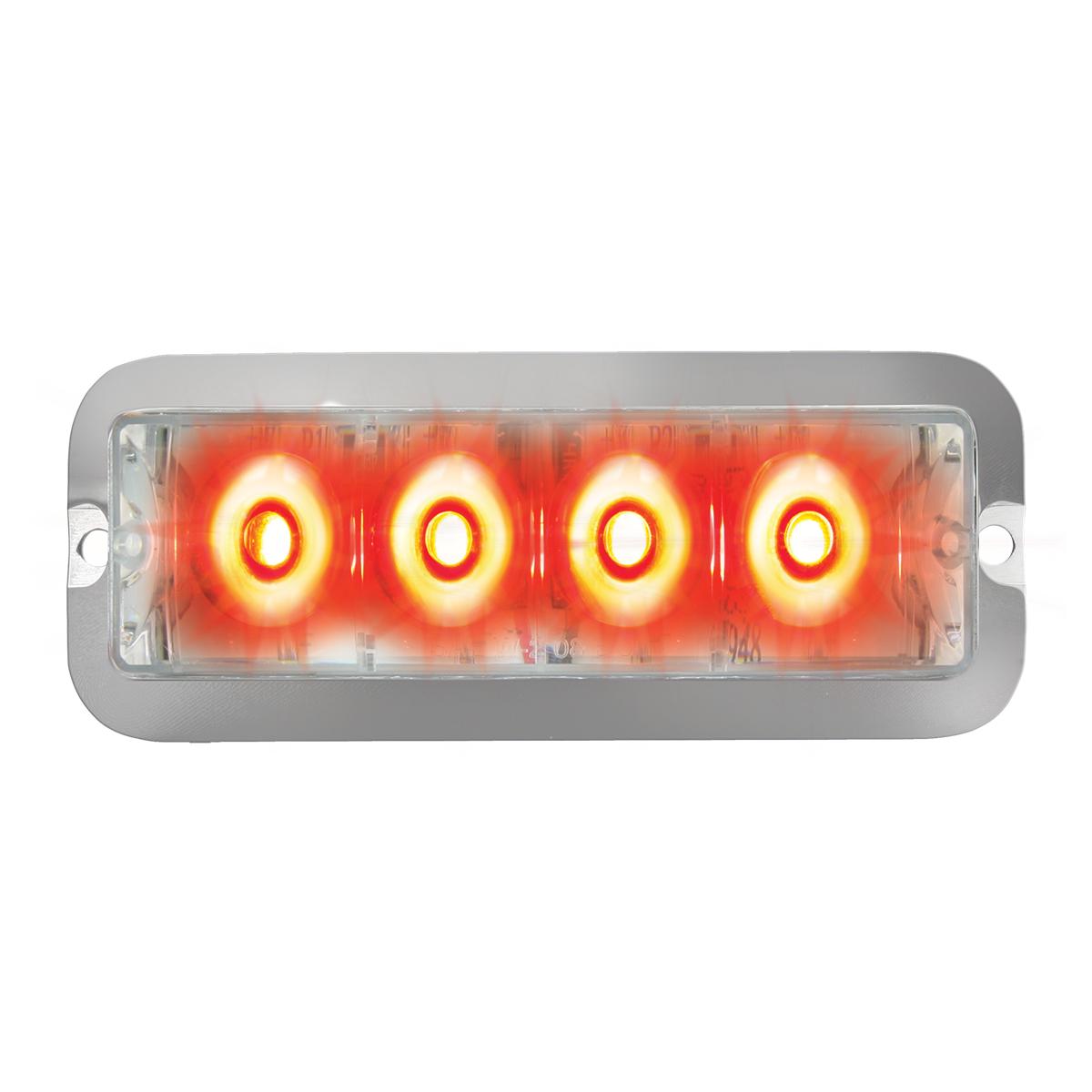 76533 Red/Clear Medium Rectangular 4 LED Strobe Light