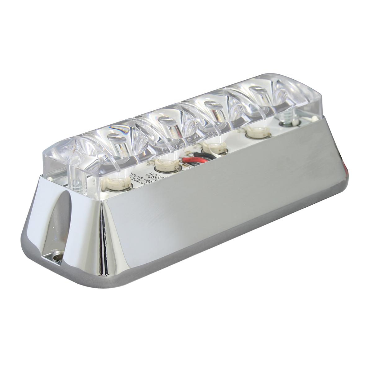 76534 White/Clear Medium Rectangular 4 LED Strobe Light