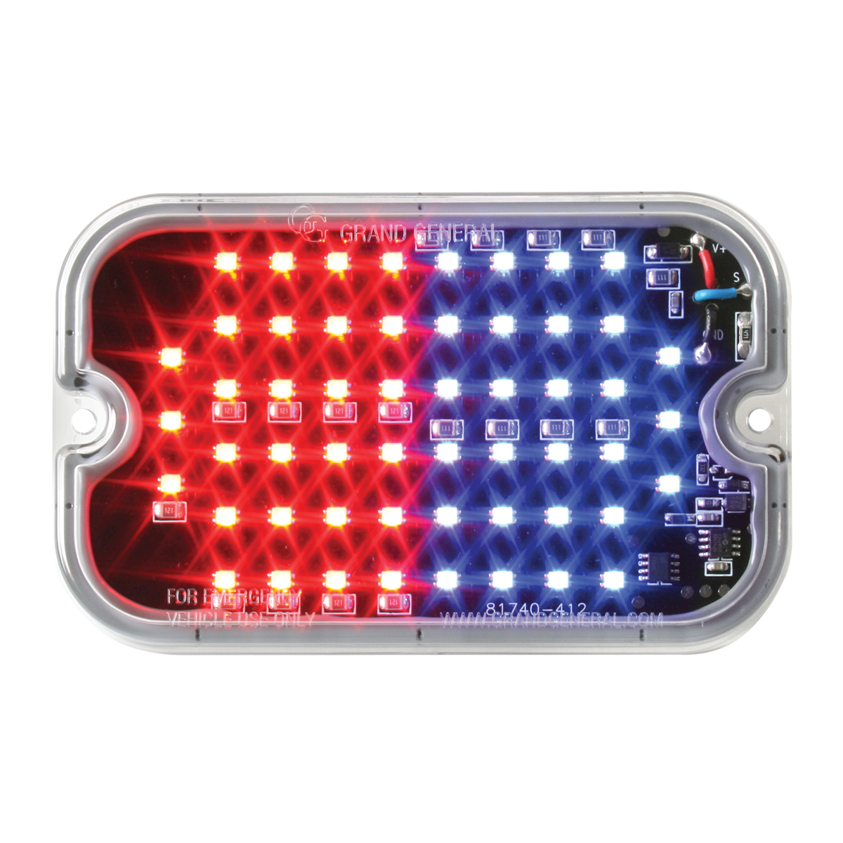 81761 Blue&Red/Clear Ultra Thin Large Rectangular Strobe LED Light