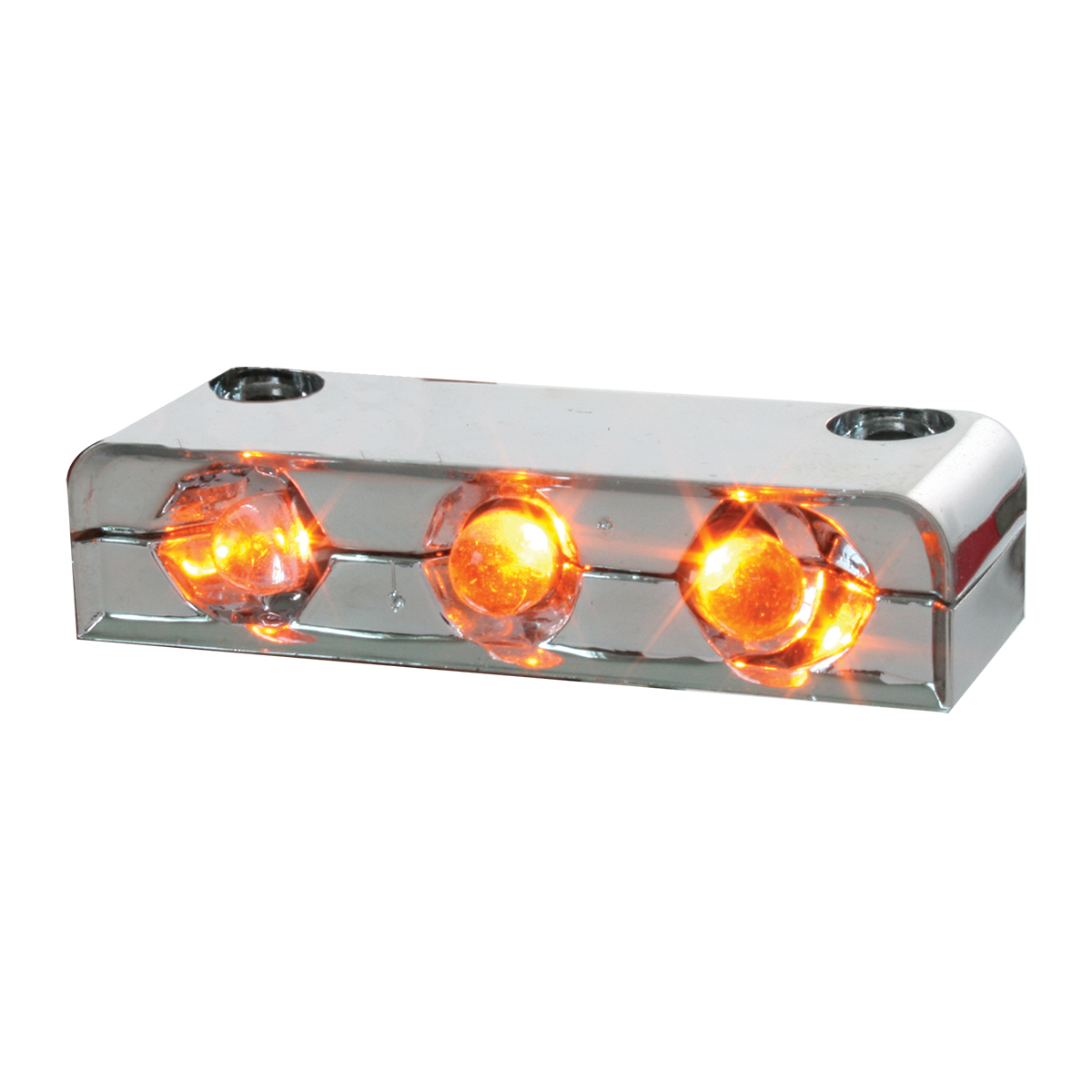 76400 Amber 3 LED Step Light w/ Chrome Housing