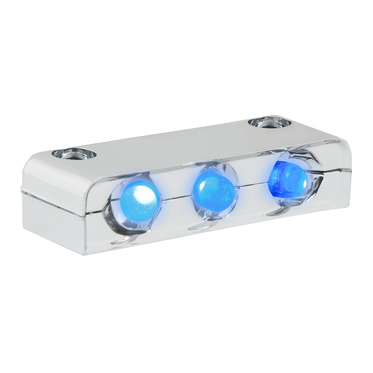 76401 Blue 3 LED Step Light w/ Chrome Housing