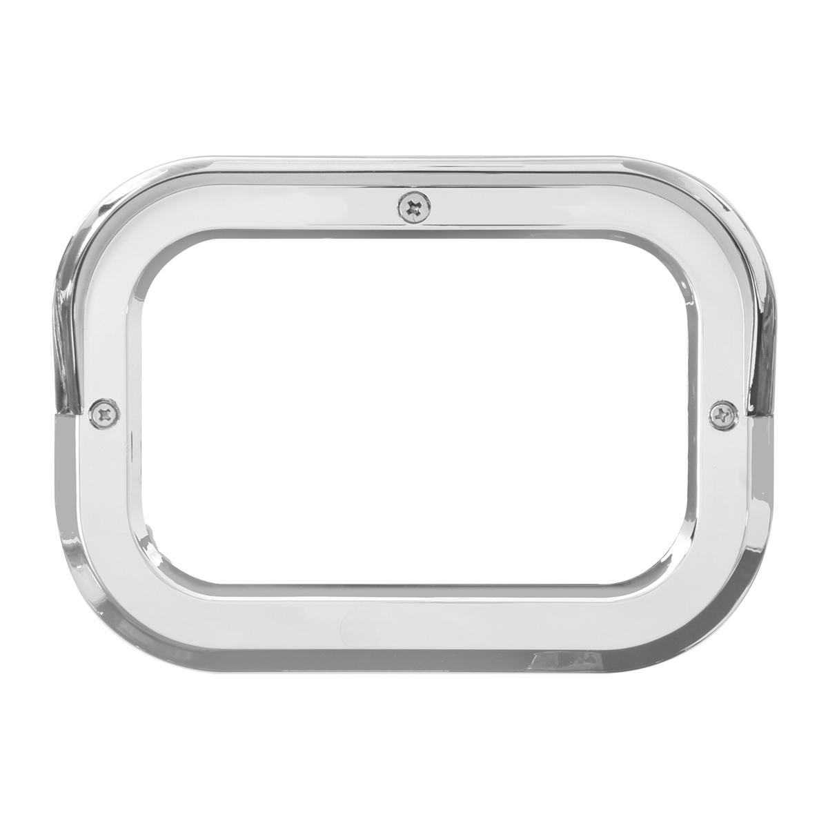 """80786 Chrome Plastic Grommet Cover w/ Visor for 5.25"""" Large Rectangular Light"""