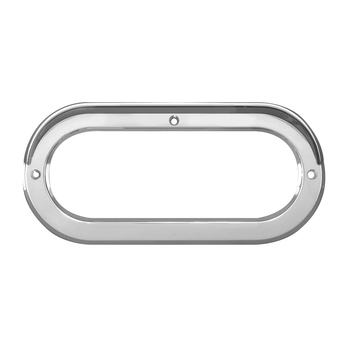 """80807 Chrome Plastic Grommet Cover w/ Visor in Horizontal Style for 6.5"""" Large Oval Light"""