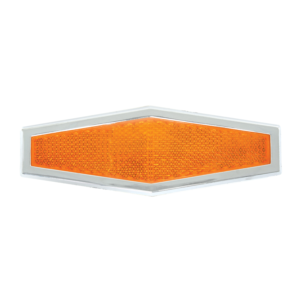 80861 Amber Diamond Shape Stick-On Reflector w/ Chrome Trim