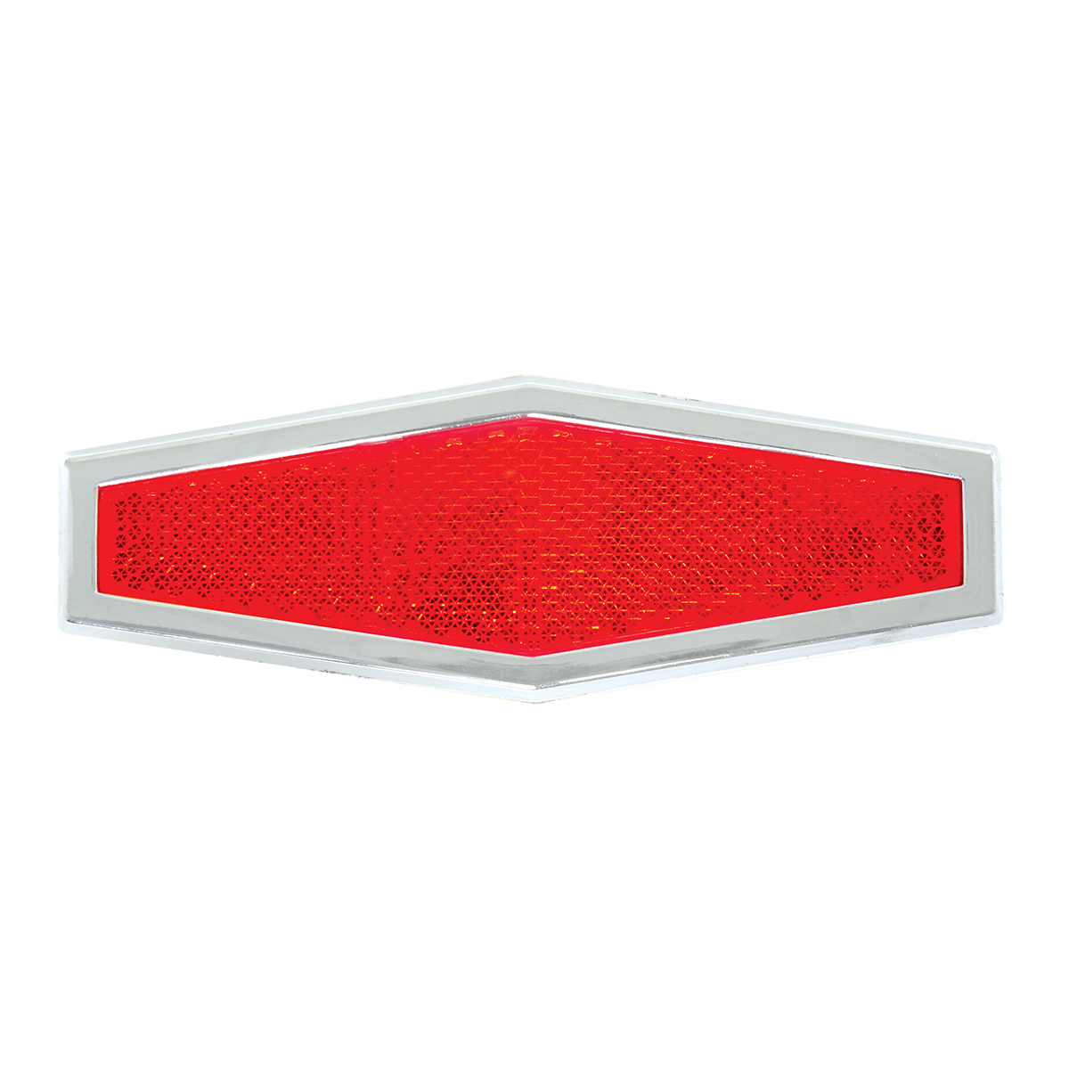 80864 Red Diamond Shape Stick-On Reflector w/ Chrome Trim