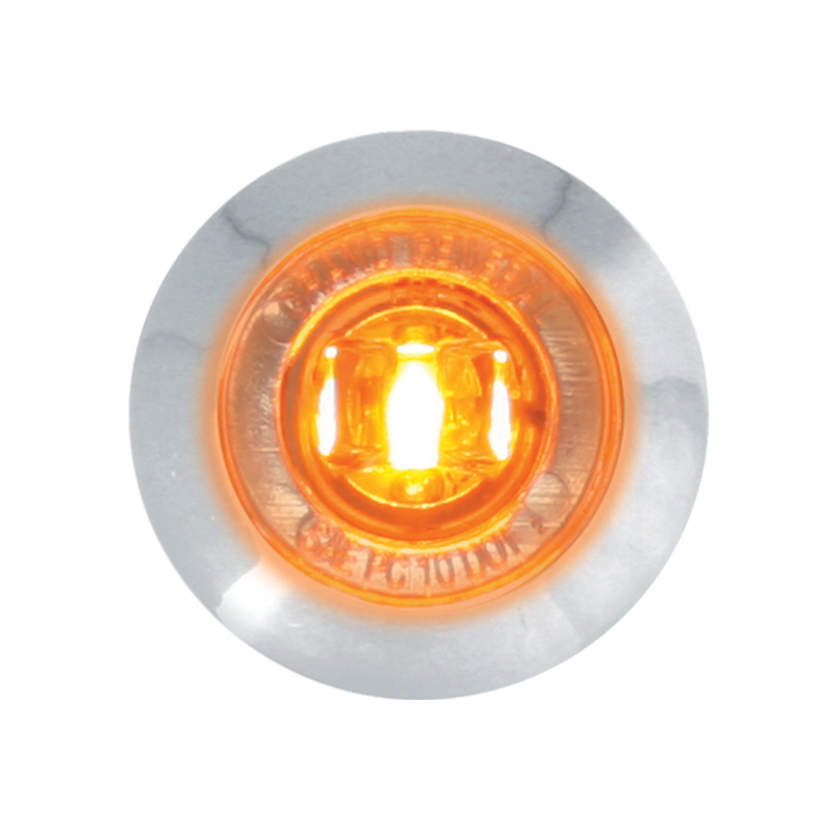 "87061 Amber/Clear 1"" Dia. Mini Push/Screw-in Wide Angle LED Marker Light w/ Chrome Bezel"