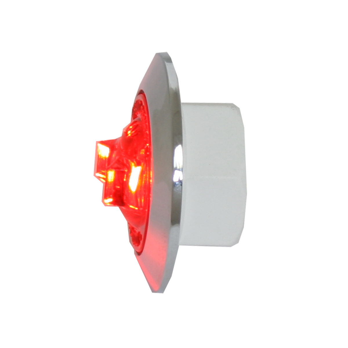 "87062 Red/Red 1"" Dia. Mini Push/Screw-in Wide Angle LED Marker Light w/ Chrome Bezel"