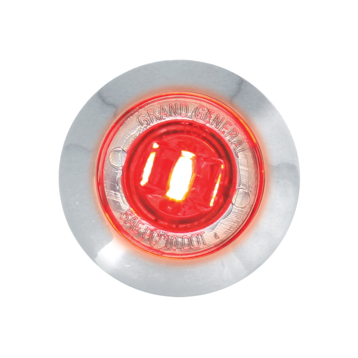 "87063 Red/Clear 1"" Dia. Mini Push/Screw-in Wide Angle LED Marker Light w/ Chrome Bezel"