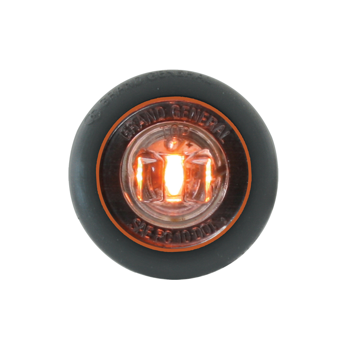 "87291 Amber/Clear 1"" Dia. Mini Push/Screw-in Wide Angle LED Marker Light w/ Grommet"