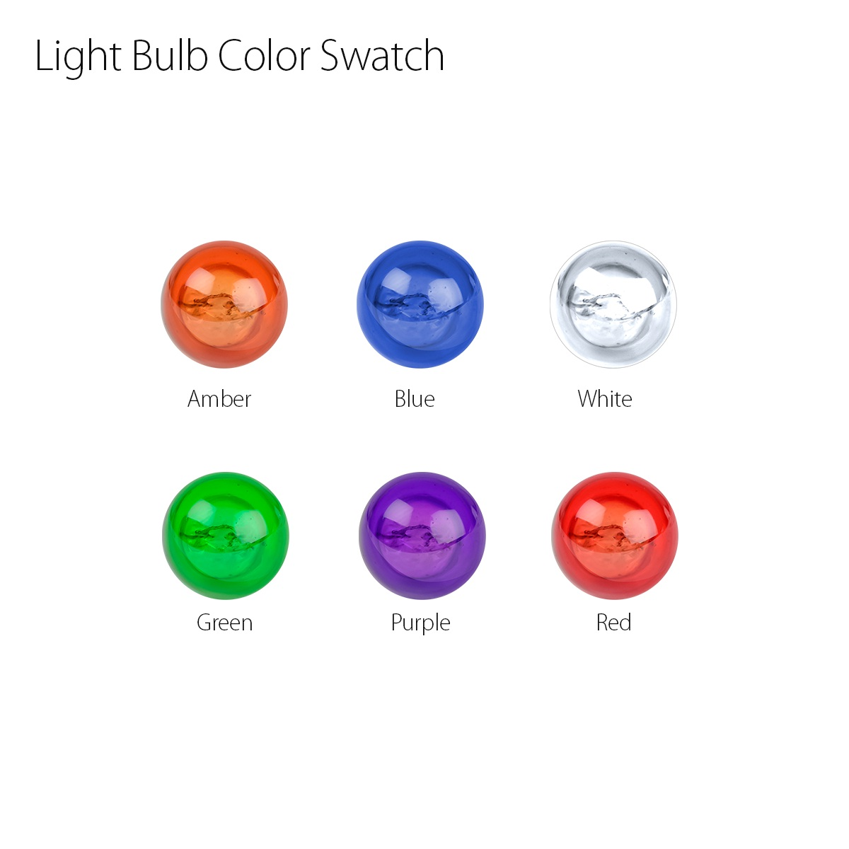 Miniature Replacement Light Bulbs Color Swatch