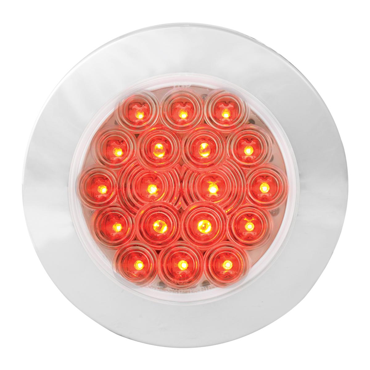 "75903 Red/Clear 4"" Fleet Flange Mount LED Light with Chrome Twist & Lock Bezel"