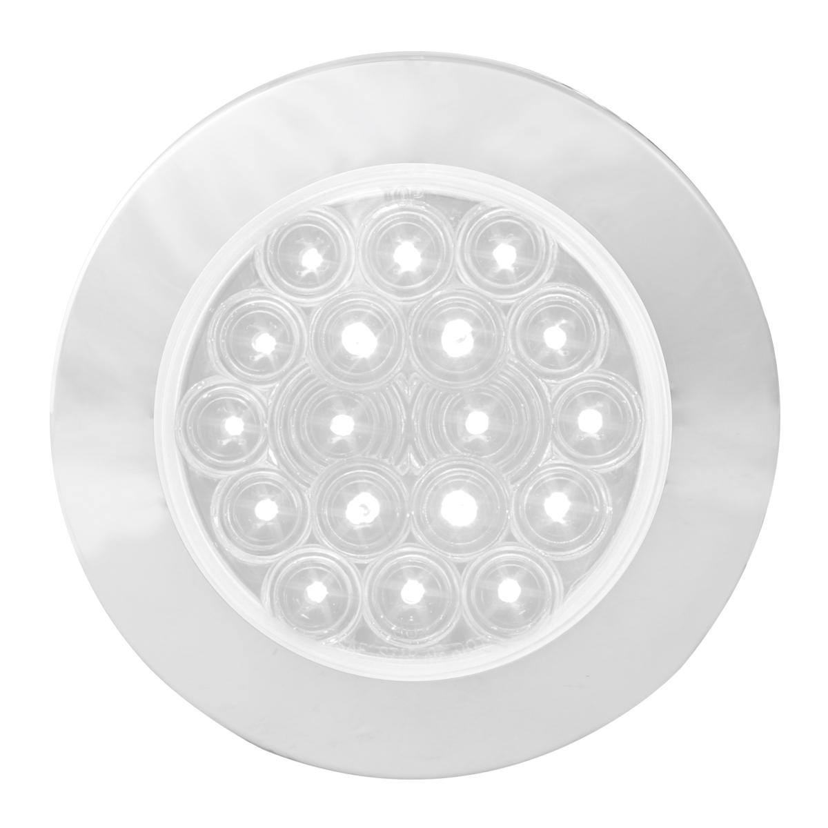 "75904 White/Clear 4"" Fleet Flange Mount LED Light with Chrome Twist & Lock Bezel"
