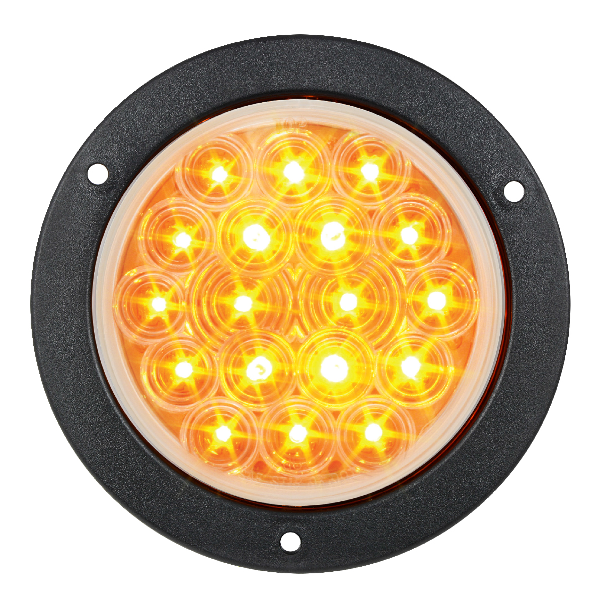 "75911 Amber/Clear 4"" Fleet LED Light with Black Flange Mount"