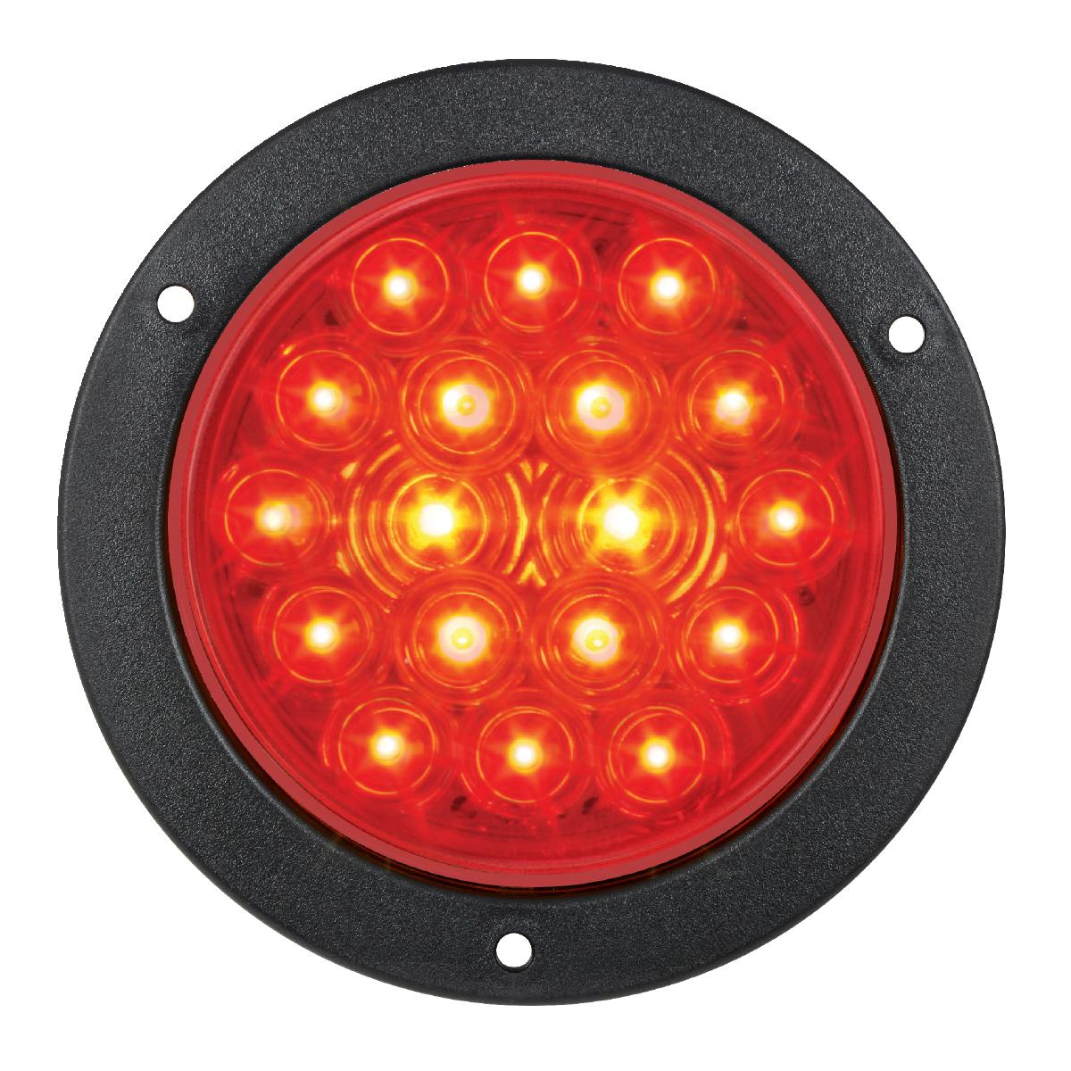 """75912 Red/Red 4"""" Fleet LED Light with Black Flange Mount"""