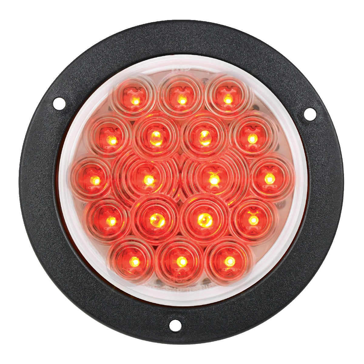"75913 Red/Clear 4"" Fleet LED Light with Black Flange Mount"