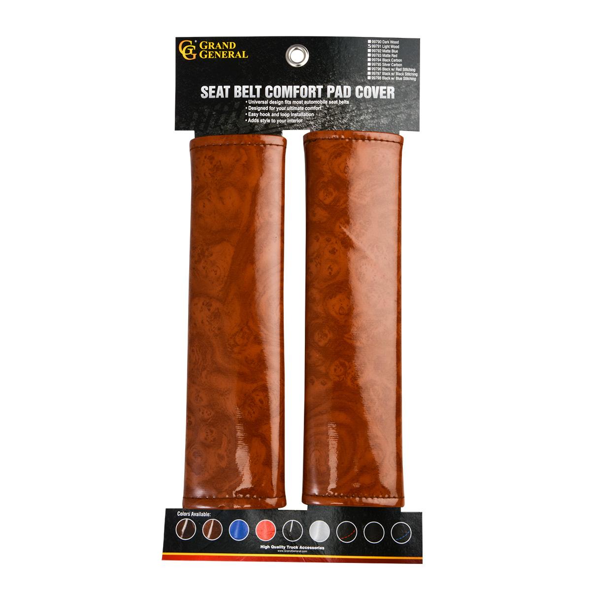 Seat Belt Comfort Pad Cover - Light Wood Packaging