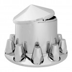 Chrome Plastic ABS Rear Axle Cover with Removable Cone Hub Cap